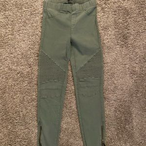 Women's ankle zipper Moto green pants